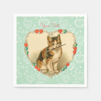 Kaliko-Kätzchen-Valentinsgruß-Herzen Servietten