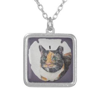 Kaliko-Katze auf Sand-Dollar-Halskette Versilberte Kette