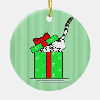 Kaliko-Katze in der Feiertags-Geschenkboxen-runden Keramik Ornament