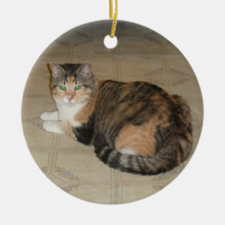 Kaliko-Katze Rundes Keramik Ornament