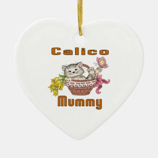 Kaliko-Katzen-Mamma Keramik Herz-Ornament