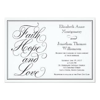 Kalligraphie-Glauben-Hoffnungs-Liebe-Wedding 12,7 X 17,8 Cm Einladungskarte