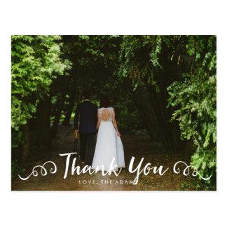 Kalligraphie-Hochzeits-Foto danken Ihnen zu Postkarte