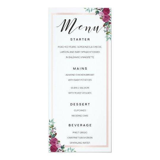 Kalligraphie-Menü-Aquarellblumenrahmenschablone 10,2 X 23,5 Cm Einladungskarte