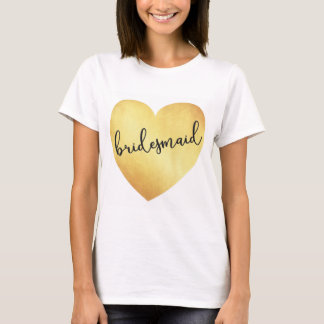 Kalligraphiet-shirt Goldfolie der Brautjungfer T-Shirt