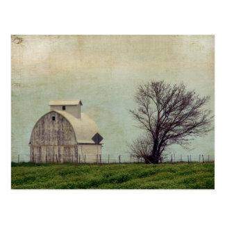 Kalona Iowa Felder und Scheune mit Baum Postkarte