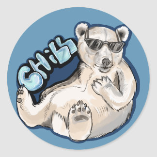 Kalter Eisbär Runder Aufkleber