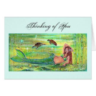 Kalypsomeerjungfrau mit Meeresschildkrötekarte Grußkarte