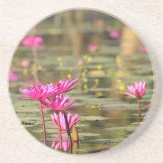 Kambodschanische rosa Wasserlilien Sandstein Untersetzer