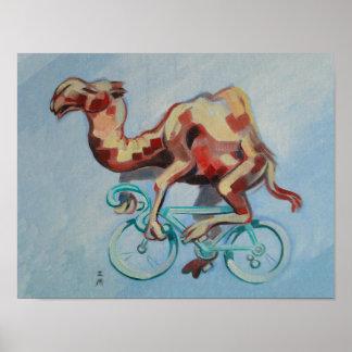 Kamel auf einem Fahrrad Poster