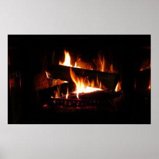 Kamin-warme Winter-Szenen-Fotografie Poster