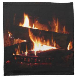 Kamin-warme Winter-Szenen-Fotografie Serviette