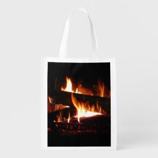 Kamin-warme Winter-Szenen-Fotografie Wiederverwendbare Einkaufstasche