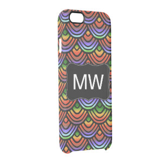 Kamm-Muschel-Skala-Muster-tropisches Monogramm Durchsichtige iPhone 6/6S Hülle