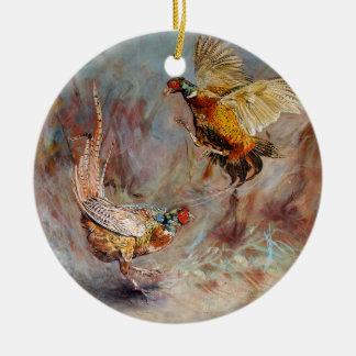 Kämpfen mit zwei männliches Ringhals Fasanen Rundes Keramik Ornament