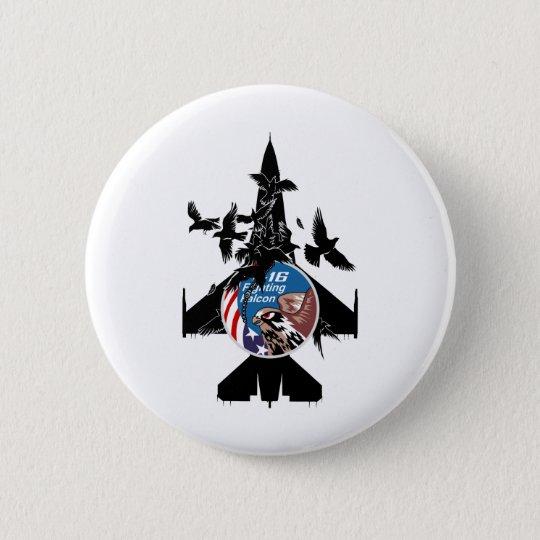 Kämpfender Falke F-16 Runder Button 5,7 Cm