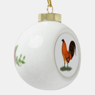 Kampfhahn-Ingwer-Rot-Hahn Keramik Kugel-Ornament