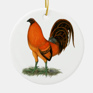 Kampfhahn-Ingwer-Rot-Hahn Rundes Keramik Ornament
