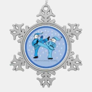 Kampfkunst-Schneemänner für Weihnachtsverzierung Schneeflocken Zinn-Ornament