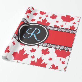 Kanada-Ahorn-Blatt-abstraktes Diamant-Monogramm Geschenkpapierrolle