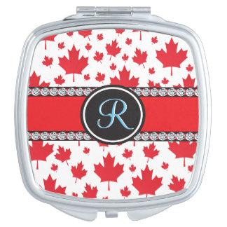 Kanada-Ahorn-Blatt-abstraktes Diamant-Monogramm Taschenspiegel