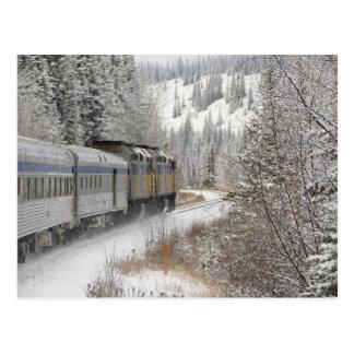 Kanada, Alberta. ÜBER Schienen-Schnee-Zug zwischen Postkarten