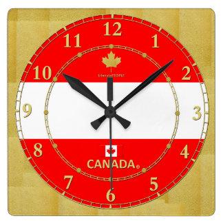 Kanada färbt Goldzahl-modernes Wanduhr-Geschenk Quadratische Wanduhr