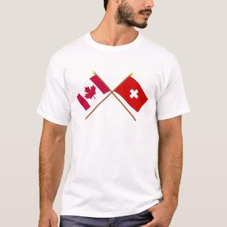 Kanada und die Schweiz gekreuzte Flaggen T-Shirt