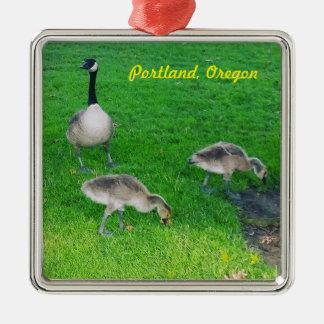 Kanadische Gänse Portlands Oregon mit Quadratisches Silberfarbenes Ornament