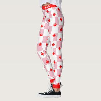 Kanadischer Ahorn auf kariertem rosa Pastell Leggings
