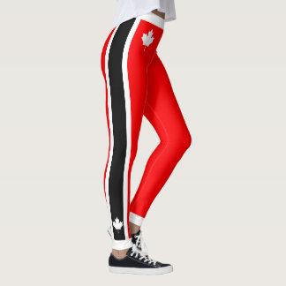 Kanadischer Ahorn auf rotem weißem Schwarzem Leggings