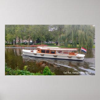 Kanal-Boot, Amsterdam, die Niederlande Poster