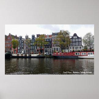 Kanal-Häuser, Amsterdam, die Niederlande Poster