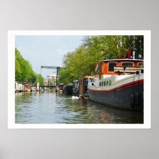 Kanal in Amsterdam Poster
