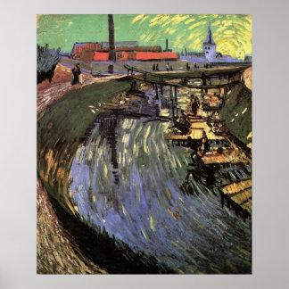 Kanal mit den Frauen, die durch Vincent van Gogh Poster