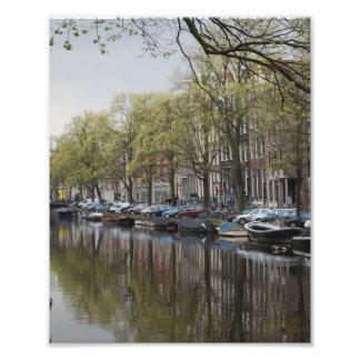 Kanäle in Amsterdam, Holland Fotodruck