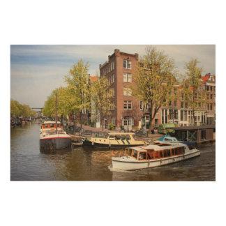 Kanäle in der Stadt von Amsterdam Holzdruck