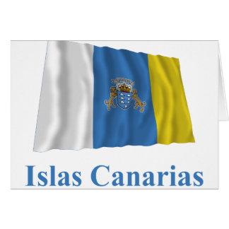 Kanarische Inseln, die Flagge mit Namen auf Karte