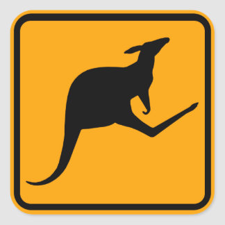 Känguru-Australien-Zeichen (Satz von 6/20) Quadratischer Aufkleber