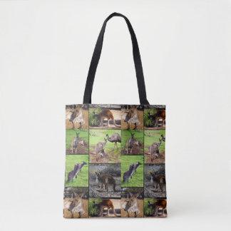 Känguru-Foto-Collage, volle Druck-Einkaufstasche Tasche
