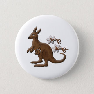 Känguru u. Baby-Känguru in Beutel Pinback Knöpfen Runder Button 5,1 Cm