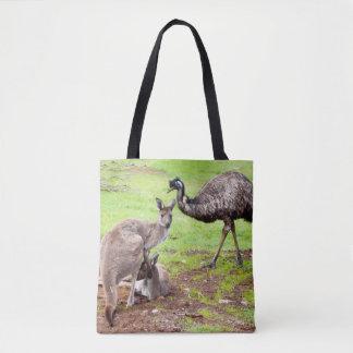Känguru und Emu, volle Druck-Einkaufstasche Tasche
