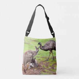 Känguru und Emu, voller Tragetaschen Mit Langen Trägern