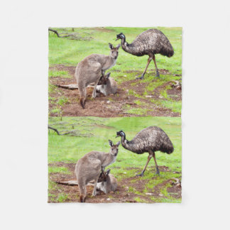 Kängurus und Emu, kleine Fleece-Decke Fleecedecke