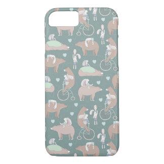 Kaninchen, Bären und Fahrrad-Muster iPhone 8/7 Hülle