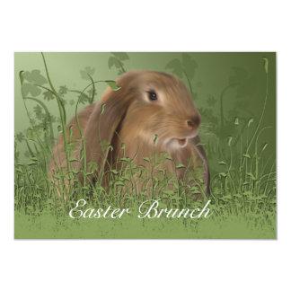 Kaninchen-Brunch-Einladung Ostern Brown Karte