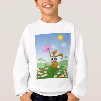 Kaninchen mit den großen Augen, die auf Feld Sweatshirt