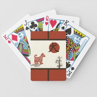 Kanji-Hund auf dem Rot abgehalten Bicycle Spielkarten