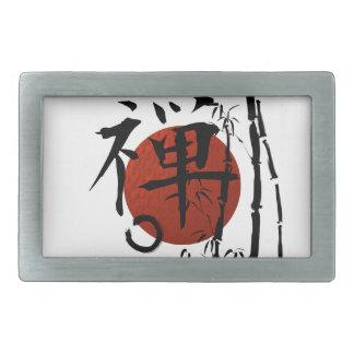 KanjiZen mit Enso und Bambus Rechteckige Gürtelschnalle