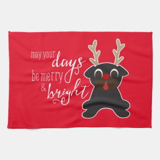 Kann Ihr Tagesfrohe Weihnacht-Mops-Ren-Tuch Geschirrtuch